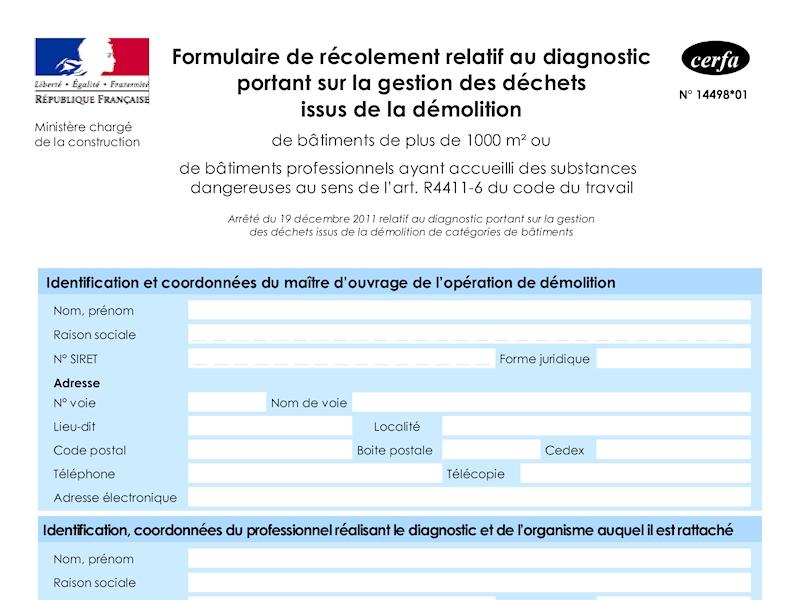 Formulaire récolement - Diagnostic déchets issus de la démolition